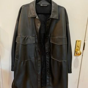 Faux leather oversized shirt jacket